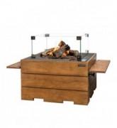 Masa cocon Lounge & Dining dreptunghiulara din lemn de tec, cu arzator gri