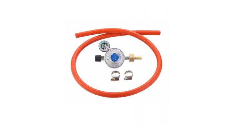Set regulator de presiune gaz cu manometru si furtun cu filet 1 pe 4 Cadac 30mBar Overflow 8515-OF poza kivi.ro