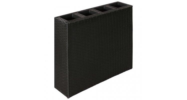 Ghiveci rectangular din ratan pentru gradina, 1 buc, Negru