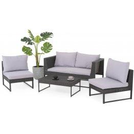 Set mobilie exterior poliratan cu 2 fotolii, canapea si masuta LIONI negru/gri