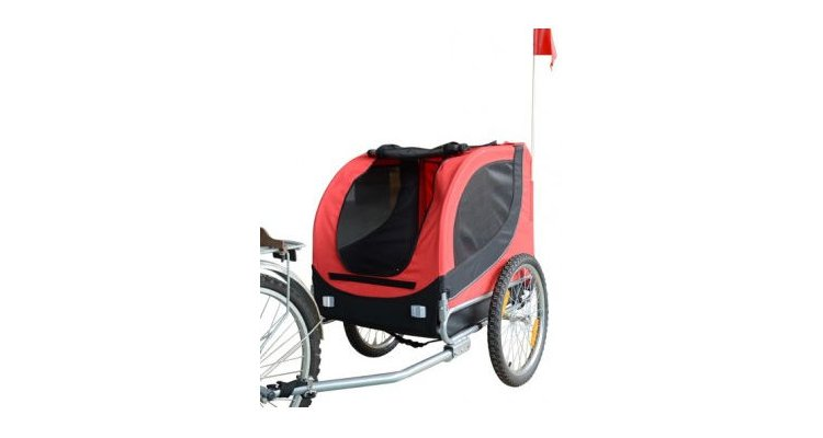 Remorca de bicicleta PAWHUT pentru transportat animale,rosie