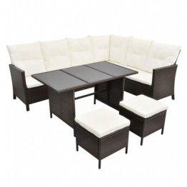 Set mobilier de gradina cu perne, 4 piese, maro, poliratan