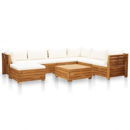 Set mobilier gradina din lemn de acacia, 8 piese, alb crem, pernele incluse