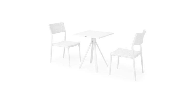 Set 2 scaune si masa exterior CORDOBA SORIA L.60 l.60 H.73 alb