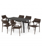 Set 6 scaune si masa exterior ALBACETE GOLF L.152 l.90 H.75 negru auriu