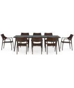 Set 8 scaune si masa exterior ALBACETE GOLF L.240 l.100 H.75 negru auriu