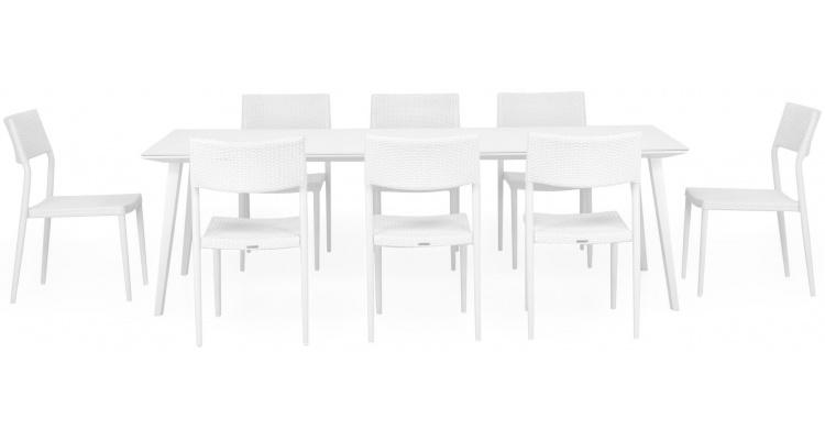 Set 8 scaune si masa exterior ALBACETE SORIA L.240 l.100 H.75 alb