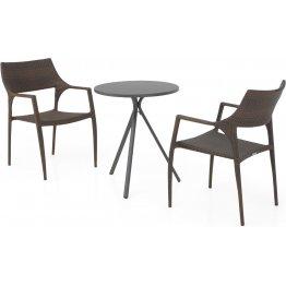 Set 2 scaune si masa exterior ELVAS GOLF H.74 D.60 negru auriu