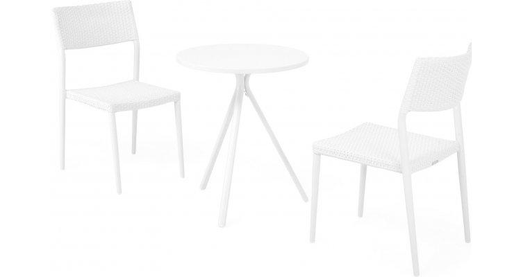 Set 2 scaune si masa exterior ELVAS SORIA H.74 D.60 alb