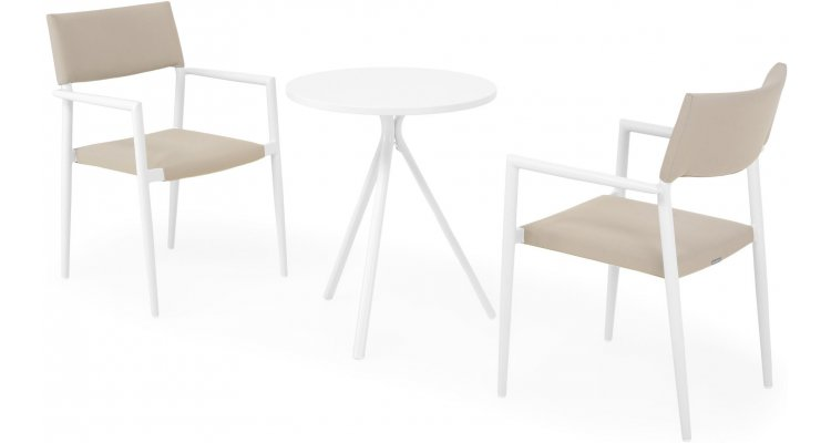 Set 2 scaune si masa exterior ELVAS SORIA H.74 D.60 alb kaki