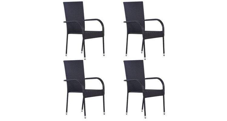 Set 4 scaune poliratan,negru