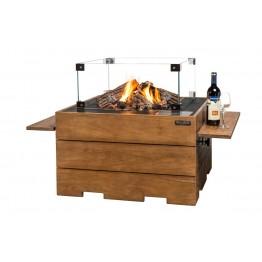 Masa Happy Cocooning patrata din lemn de tec, cu arzator negru