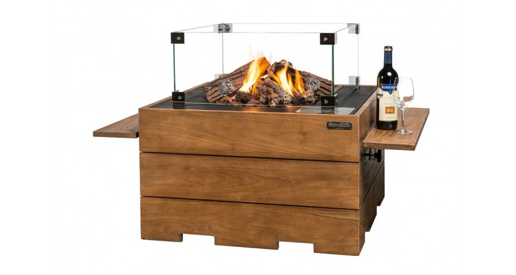 Masa Happy Cocooning patrata din lemn de tec, cu arzator negru imagine 2021 kivi.ro