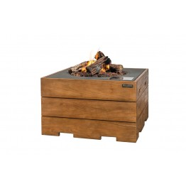 Masa Happy Cocooning patrata din lemn de tec, cu arzator gri