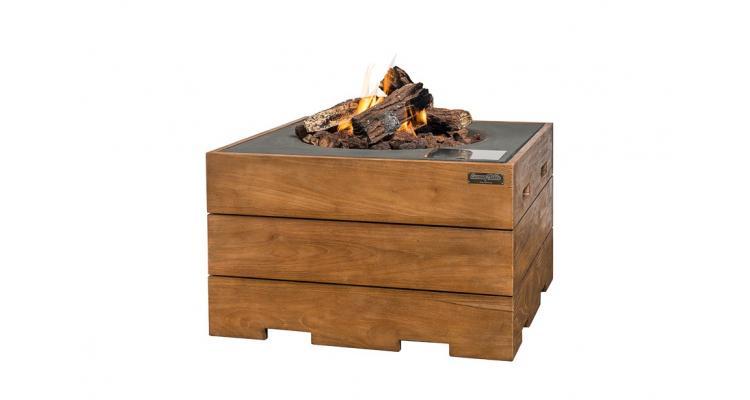 Masa Happy Cocooning patrata din lemn de tec, cu arzator gri imagine 2021 kivi.ro