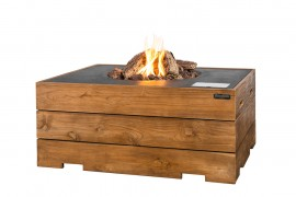 Masa Happy Cocooning dreptunghiulara, din lemn de tec, cu arzator negru