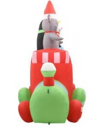 Pinguin si soricel pe tren gonflabil Craciun LED IP44 500 cm XXL