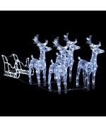 Decoratiune de Craciun cu reni si sanie, 400 leduri, acrilic
