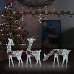 Familie reni de Craciun, argintiu/alb rece, 270x7x90 cm, plasa