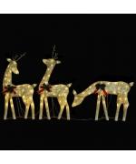 Familie reni de Craciun, auriu/alb cald, 270x7x90 cm, plasa