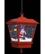 Felinar suspendat cu LED si Mos Craciun, rosu, 27x27x45 cm