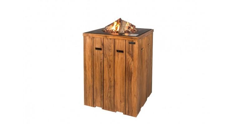 Masa de bar Happy Cocooning din lemn de tec, cu arzator negru