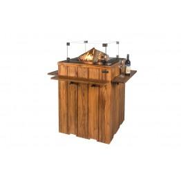 Masa de bar Happy Cocooning din lemn de tec, cu arzator gri
