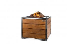 Masa cocon Lounge & Dining patrata din lemn de tec si otel inoxidabil, cu arzator negru