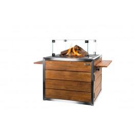 Masa cocon Lounge & Dining patrata din lemn de tec si otel inoxidabil, cu arzator gri