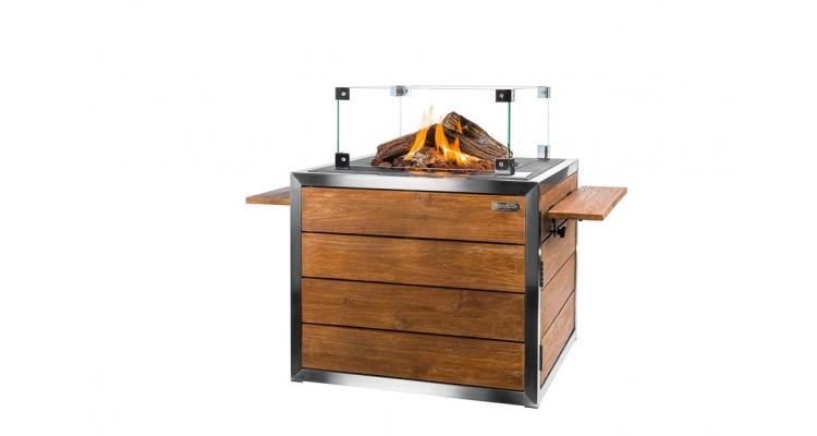 Masa cocon Lounge & Dining patrata din lemn de tec si otel inoxidabil, cu arzator gri imagine 2021 kivi.ro