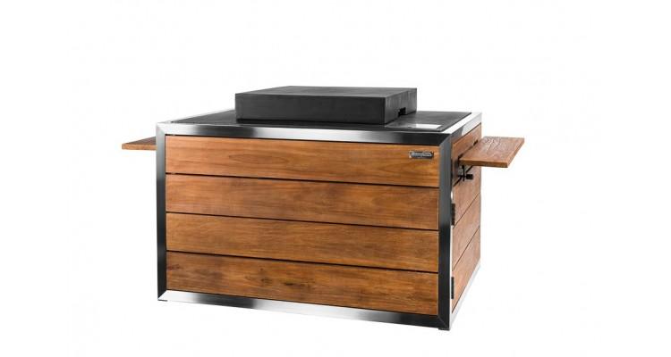 Masa cocon Lounge & Dining dreptunghiulara din lemn de tec si otel inoxidabil, cu arzator negru imagine 2021 kivi.ro