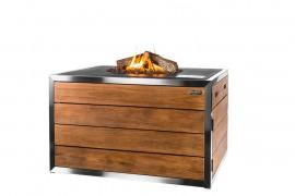 Masa cocon Lounge & Dining dreptunghiulara din lemn de tec si otel inoxidabil, cu arzator negru