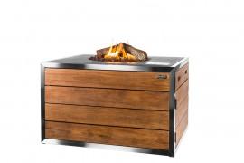 Masa cocon Lounge & Dining dreptunghiulara din lemn de tec si otel inoxidabil, cu arzator gri