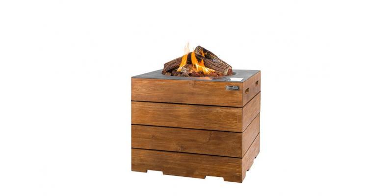 Masa cocon Lounge & Dining patrata din lemn de tec, cu arzator gri imagine 2021 kivi.ro