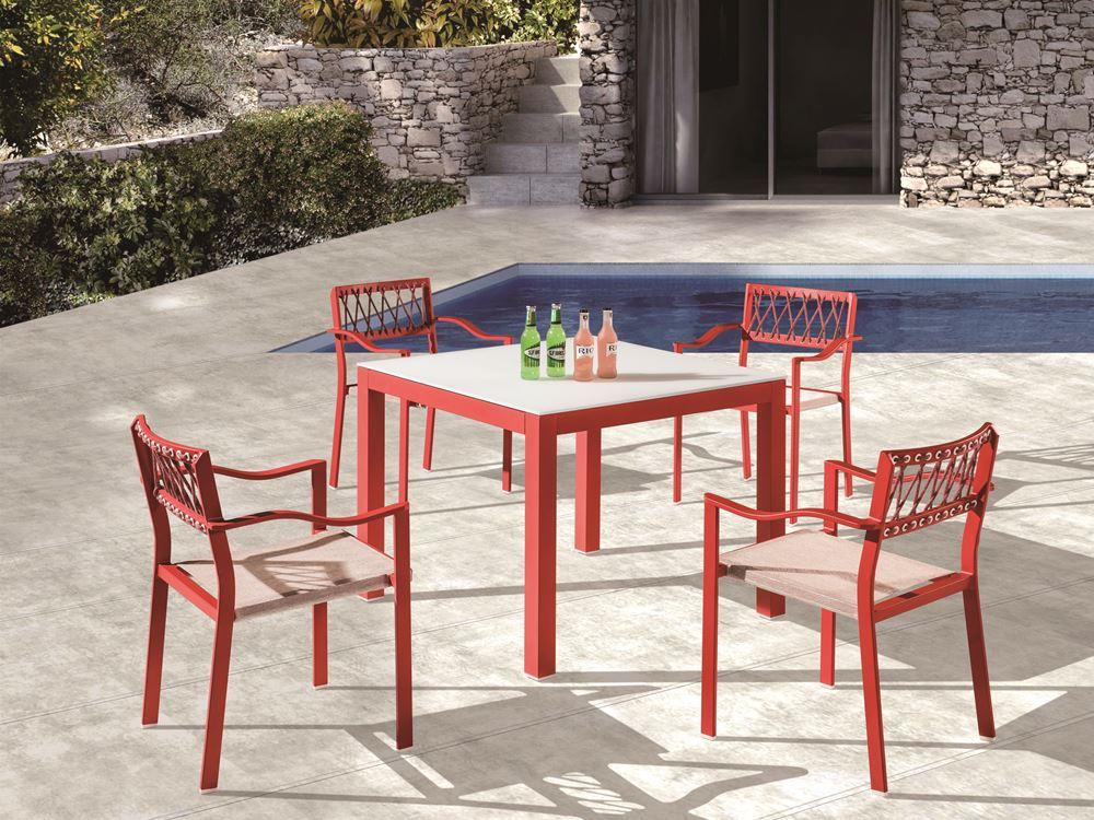 Set mobilier terasa masa si 4 scaune Pandora